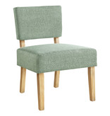 Monarch Accent Chair, Light Green Fabric, Natural Wood Legs