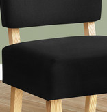 Monarch Accent Chair, Black Fabric, Natural Wood Legs