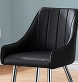Monarch Dining Chair, Black Leather-Look and Chrome