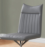 Monarch Dining Chair, Grey Leather-Look and Metal Chrome