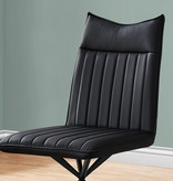 Monarch Dining Chair, Black Leather-Look and Black Metal