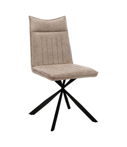 Monarch Dining Chair, Taupe Fabric and Black Metal