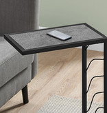 Monarch Accent Table, Grey Stone-Look and Black Metal