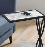 Monarch Accent Table, White Marble-Look and Black Metal