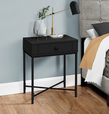 Monarch Accent Table, Black and Black Metal