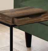 Monarch Accent Table, Brown Reclaimed Wood and Black Metal