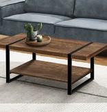 Monarch Coffee Table, Brown Reclaimed Wood and Black Metal