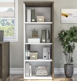 Bestar  Gemma Bookcase, Walnut Grey & White