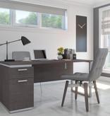 "Bestar Aquarius Desk (66""), Bark Grey & White"