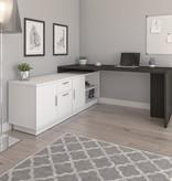 Bestar Equinox L-Shaped Office Desk, Deep Grey & White