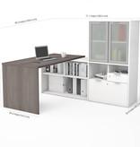 Bestar  i3 Plus L-Shaped Desk, Bark Grey & White