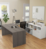 Bestar  i3 Plus U-Shaped Executive Desk, Bark Grey & White