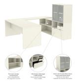 Bestar  i3 Plus U-Shaped Executive Desk, White Chocolate