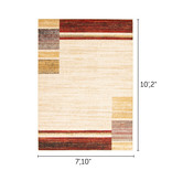 South Shore Holland Red and Yellow Contemporary Squares Area Rug8ft x 10ft