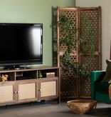 "South Shore Balka TV Stand (60""), Natural Walnut and Printed Rattan"