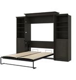 "Bestar Evolution Queen (60"") Murphy Bed with Storage Units, Deep Grey"