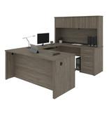Bestar Embassy U-Shaped Executive Desk, Walnut Grey
