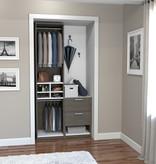 "Bestar Cielo 39"" Closet Organizer with Storage, Bark Grey & White"