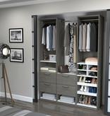 "Bestar Cielo 59"" Closet Organizer, Bark Grey & White"
