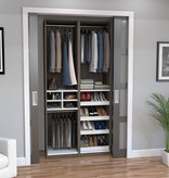 "Bestar Cielo 39"" Closet Organizer, Bark Grey & White"