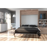 Bestar Cielo Queen Murphy Bed with Storage (95W), Rustic Brown & White
