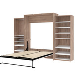 Bestar Cielo Queen Murphy Bed with with Storage (124W), Rustic Brown & White