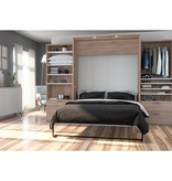 Bestar Cielo Queen Murphy Bed with Storage (124W), Rustic Brown & White