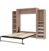 Bestar Cielo Queen Murphy Bed with Storage (104W), Rustic Brown & White