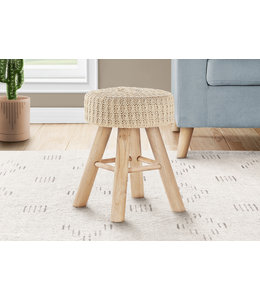 Monarch Tricô Ottoman, Beige Knit and Natural Wood Legs