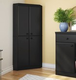 South Shore Armoire en coin 4 portes, Noir solide, collection Morgan