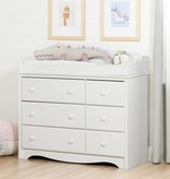 South Shore Angel Changing Table/Dresser with 6 Drawers, Pure White