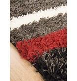 Kalora Shaggy Red/White Stripes Rug 8ft x 10ft