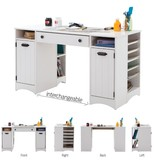 South Shore Artwork Craft Table with Storage, White