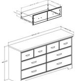 South Shore Bureau double 6 tiroirs, Érable cendré, collection Versa