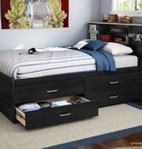 "South Shore Cosmos Full (54"") Captain Bed with 4 Drawers Black Onyx"