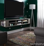 """South Shore City Life 66""""L Wall Mounted Media Console, Gray Maple"""