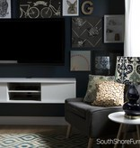 "South Shore Agora 56""L Wall Mounted Media Console, Pure White"