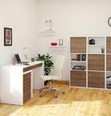 Nexera 2-Door Bookcase, White & Walnut, Liber-T
