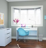 Nexera Desk with Pull-Out Storage Shelf, White, Arobas