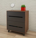 Nexera 4-Drawer Chest, Walnut & Charcoal, Alibi