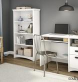 South Shore Bureau de travail avec 2 tiroirs, Blanc solide, collection Gascony