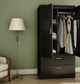 South Shore Armoire penderie, Noir solide, collection Acapella