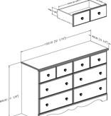 South Shore Bureau double 6 tiroirs, Myrtille, collection Summer Breeze