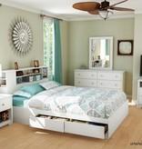 South Shore Bureau double 6 tiroirs, Blanc solide, collection Vito