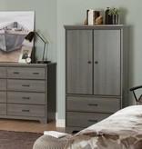 South Shore Armoire de rangement 2 portes avec tiroirs, Érable cendré, collection Versa