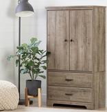 South Shore Armoire de rangement 2 portes avec tiroirs, Chêne vieilli collection Versa