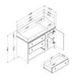 South Shore Catimini Changing Table with Removable Changing Station, Pure White and Rustic Oak