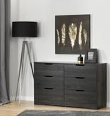 South Shore Bureau double 6 tiroirs, Chêne gris, collection Holland