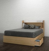 "Nexera Nomad Full Headboard (54"") with Storage, White and Natural Maple"