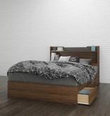 "Nexera Cartel Full Headboard (54"") with Storage, Walnut and Charcoal"